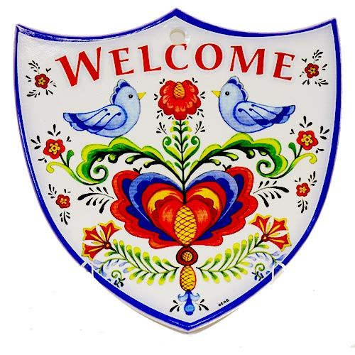 Door Sign Porelain Welcome  Shield Lovebirds