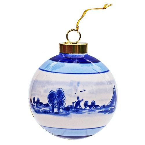 Xmas Ball Delft Blue Mill 2.75inch diameter