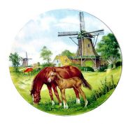 PLATE COLOR 9 INCH MILL WITH HORSES