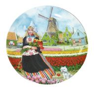 PLATE COLOR 9 INCH DUTCH GIRL IN TULIPFIELD