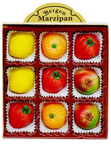 Marzipan Fruit 9 Piece Box 4 oz