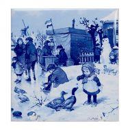 Delft Blue Til Girl with Ducks