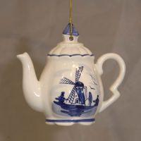 Xmas Ornament Delft Teapot 3x3inch