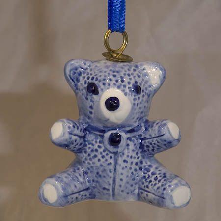 Xmas Ornament Blue Teddy Bear 2.5inch Tall