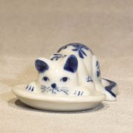 Mini Cat with Fish on Plate 2 inches wide