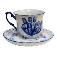 Tea or Coffee Cup w.Saucer Tulip Decoration
