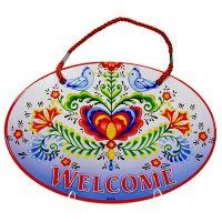 Door Sign Porcelain Welcome Lovebirds